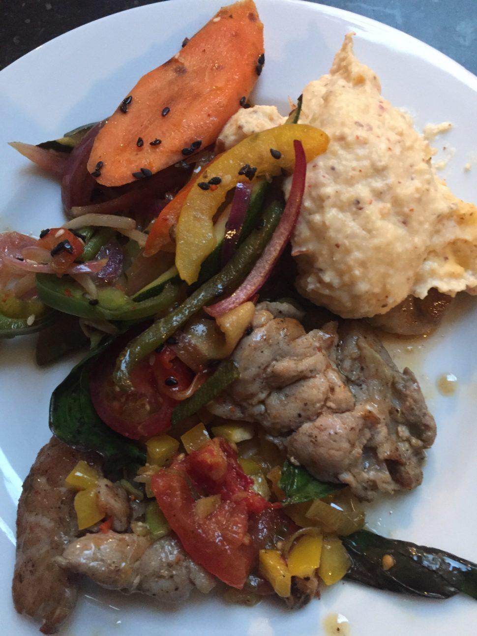 Araignée de cochon, polenta crémeuse, légumes par Julien Duboué à Boulom