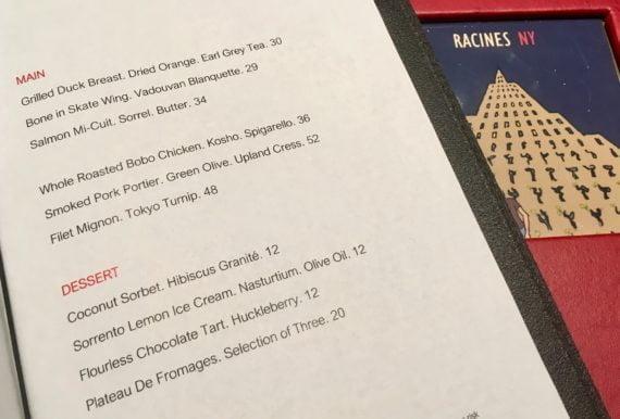 Le menu de Racines : les produits sont aussi locaux que possible