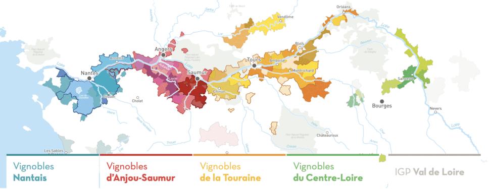 Carte des vins du Val de Loire.