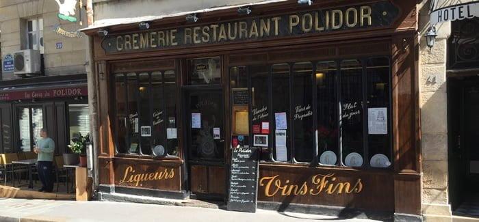 La façade du Polidor, rue Monsieur Le Prince, à Paris