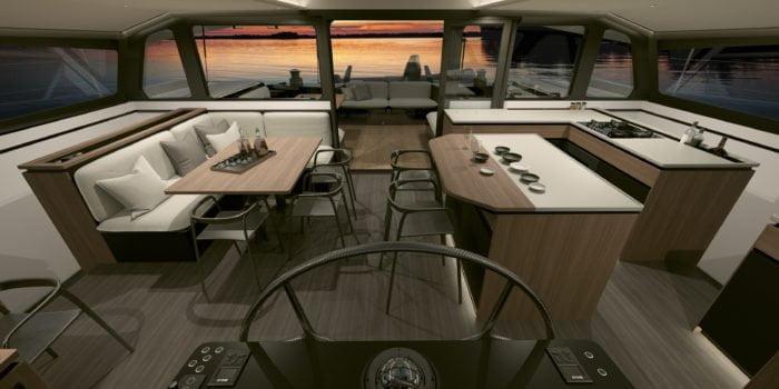 Gunboat 68, vue du carré. Design intérieur signé Wetzels Brown Partners