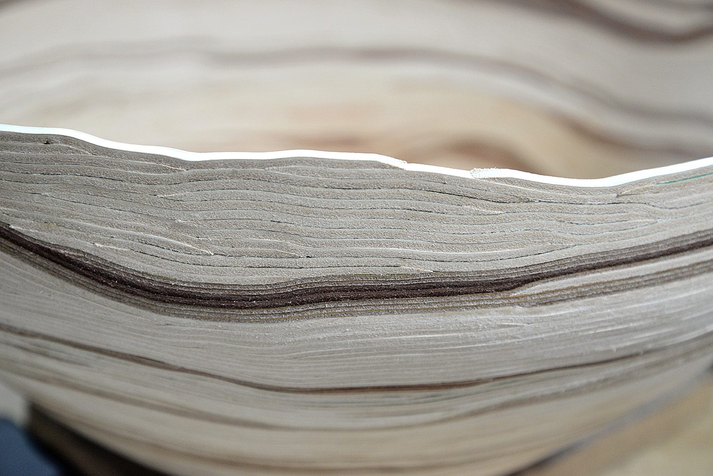 Quand le cuir se fait bois. Plat en cours de création