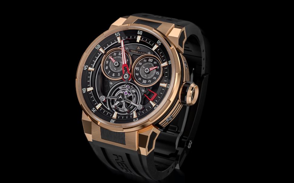Sur la montre Rebellion, les cadrans du chronographe sont inspirés des compteurs de la voiture.