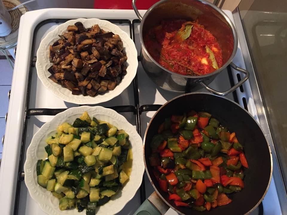 Les légumes cuits séparément avant assemblage