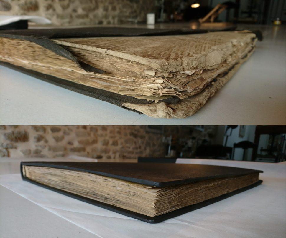 Livre avant et après restauration