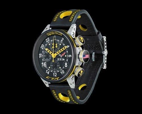 Composées seulement de 100 pièces numérotées, ces séries de montres de la collection Chevrolet Corvette C7.R sont disponibles en jaune et noir ou noir et gris. Le jaune reprend les couleurs de la C7.R