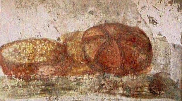 Nature morte au pain – peinture murale Pompéi – Musée de Naples