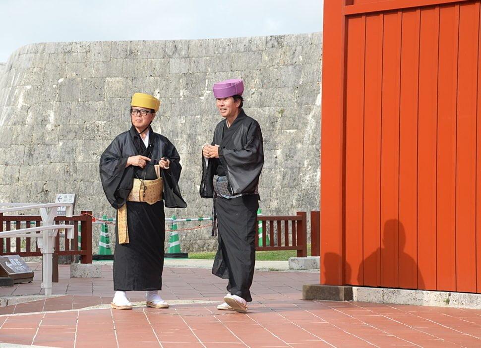 Habitants d'Okinawa, dans le Château de Shuri à Naha