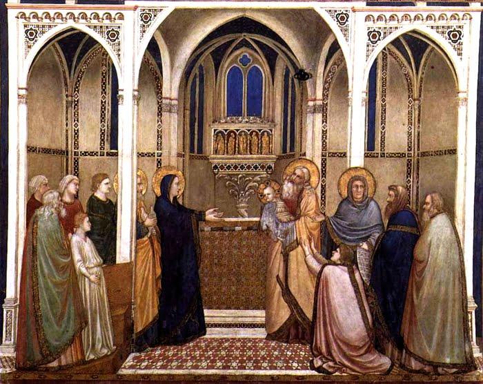Présentation du Christ au Temple de Giotto (1310). Fresque Saint François d'Assise, église inférieure, transept nord.