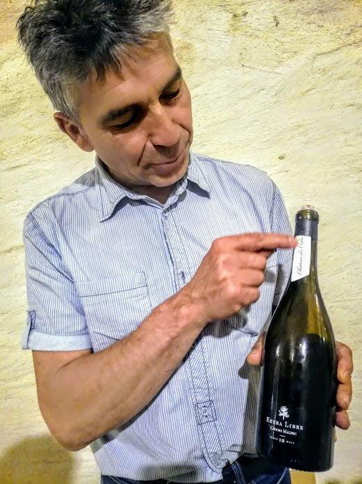 Pascal Verhaeghe et son Cahors Château du Cèdre 2018 Extra-Libre sans sulfites (95 % malbec, 5 % merlot) avec vinification et élevage 12 mois en foudre