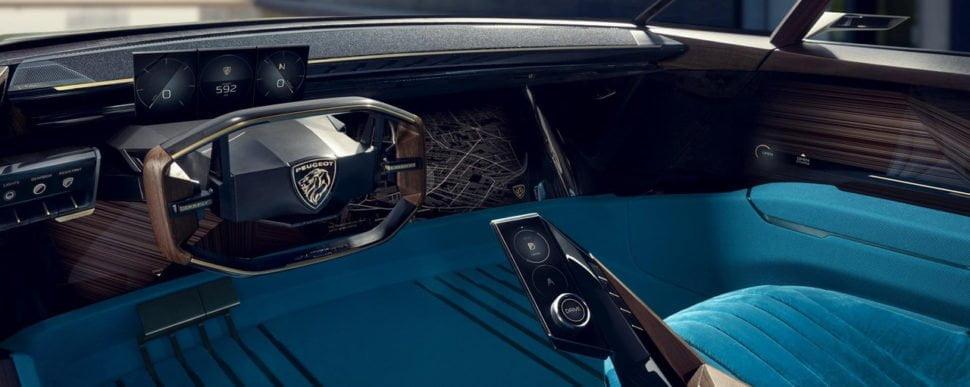 Ambiance de bleu turquoise veiné de bois de paldao pour un intérieur ultra futuriste.