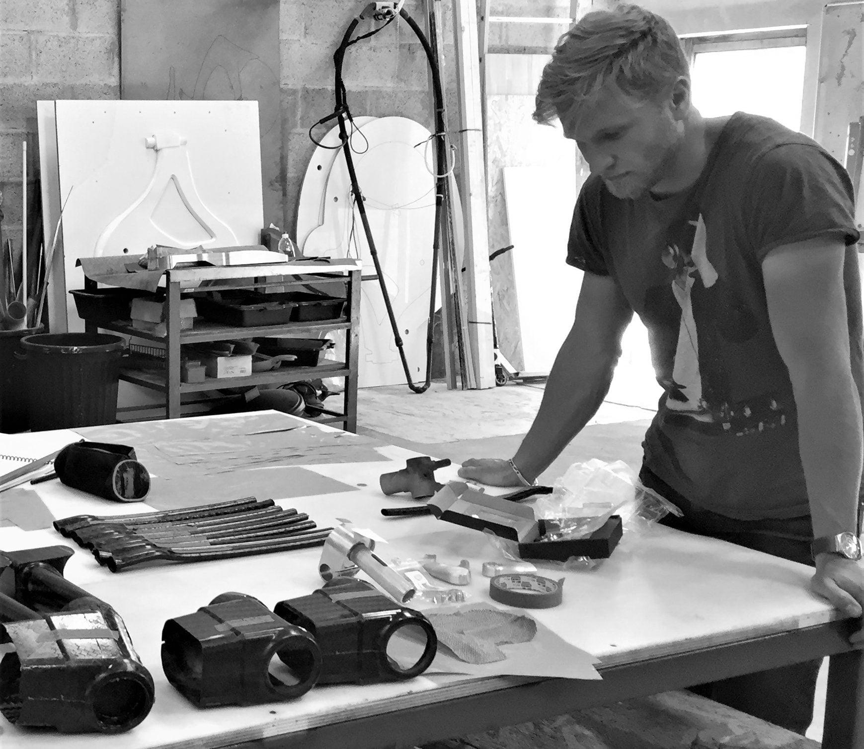 Thibault Halm, dans son atelier