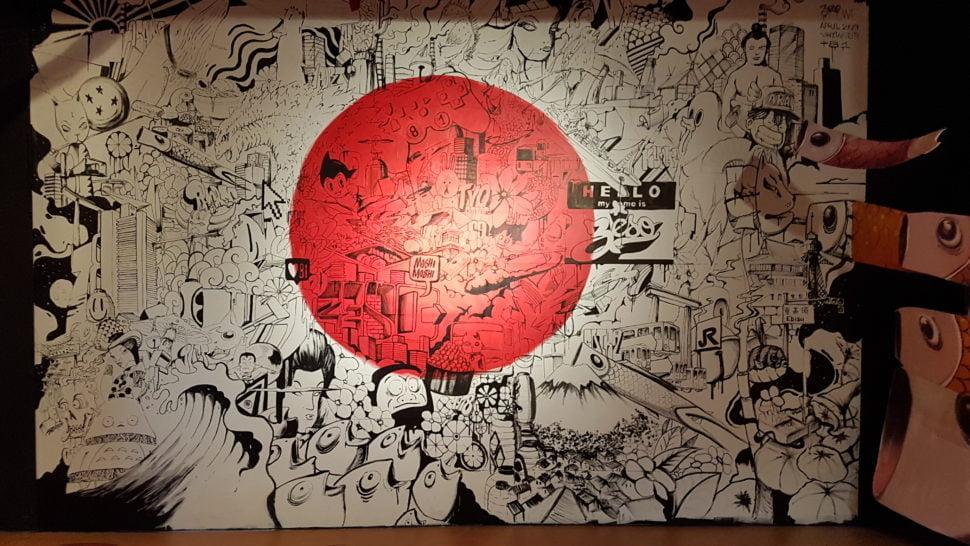 Une oeuvre du Solo Show +81 du graffeur lyonnais Zeso, sur le thème du Japon, à Street Art City