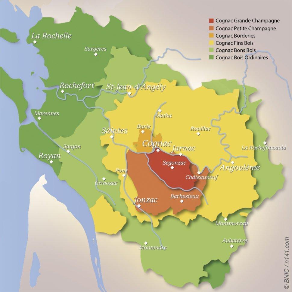 Carte de l'appellation Cognac