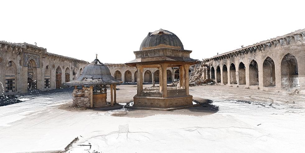 Image 3D de la cour de la mosquée des Omeyyades d'Alep, Syrie.